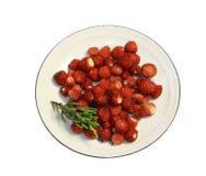 Bagas da morango selvagem em um saucer redondo Fotos de Stock Royalty Free