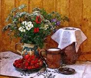 Bagas do jardim e uma caneca de leite fresco na tabela da vila Café da manhã que pinta a aquarela molhada no papel Água de tirage ilustração stock