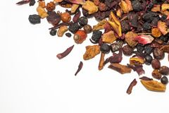 Bagas e frutos secados Chá do fruto Partes coloridas de fruto Vista superior Fotos de Stock