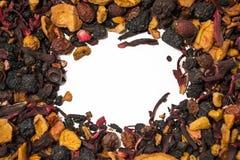 Bagas e frutos secados Chá do fruto Partes coloridas de fruto Vista superior Imagens de Stock Royalty Free