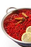 Bagas e ingredientes da passa de Corinto vermelha para fazer o atolamento Foto de Stock Royalty Free