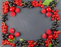 Bagas frescas da cereja, das framboesas, do corinto vermelho e do corinto preto Fotografia de Stock Royalty Free
