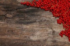Bagas frescas do corinto vermelho no fundo de madeira velho Fotos de Stock
