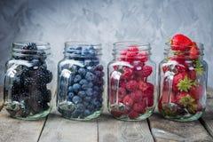 Bagas nos frascos de vidro - doce caseiro, batido, sobremesa dietético Fotografia de Stock Royalty Free