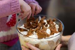 Bagatelle faite maison r de crème anglaise de pain d'épice de Noël photo stock