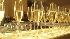 Bagato wine glasses with champagne at the event in the restaurant are in two rows, the video is close-up. A slow roll along the glasses stock video footage