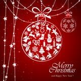 Bagattella bianca sul fondo rosso di Natale Immagine Stock