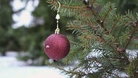 Bagattella di Natale che appende sul movimento lento nevoso dell'albero di abete archivi video
