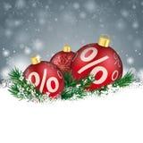 Bagattelle di Gray Christmas Snowflakes Red Sale Fotografie Stock Libere da Diritti