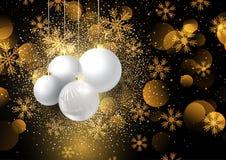 Bagattelle di Natale sul fondo dorato 0908 del fiocco di neve illustrazione vettoriale