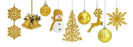 Bagattelle dorate del nuovo anno di Natale Fotografia Stock Libera da Diritti