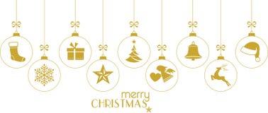 Bagattelle dorate di Natale, ornamenti di Natale su bianco Immagini Stock Libere da Diritti