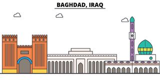 Bagdad, Iracka kontur linia horyzontu, arabskiego mieszkania cienkie kreskowe ikony, punkty zwrotni, ilustracje Bagdad, Iracki pe ilustracja wektor
