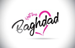 Bagdad j'aime juste le texte de Word avec la police manuscrite et la forme rose de coeur illustration de vecteur