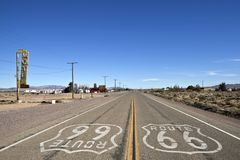 Bagdad Kalifornien - historiska Route 66 arkivbilder
