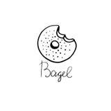 Bagel συρμένη χέρι απεικόνιση Μπορέστε να χρησιμοποιηθείτε για την μπλούζα, έμβλημα, κάρτα Στοκ εικόνα με δικαίωμα ελεύθερης χρήσης