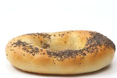 Bagel. With poppyseed isolated on white Stock Images