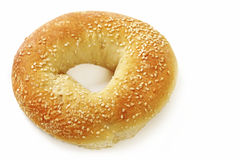 Bagel. Isolated on white, with sesame seeds royalty free stock image