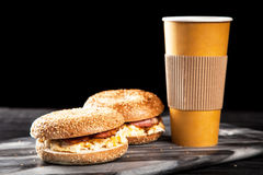 Bagel with bacon and egg Stock Photography