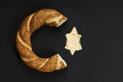 Bagel on black background royalty free stock photography