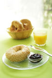 Bagel at breakfast stock images
