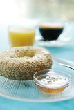 Bagel at breakfast Stock Photography
