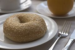 Bagel with breakfast stock images