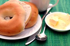 Bagel and breakfast Royalty Free Stock Image