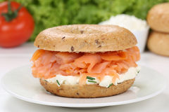 Bagel for breakfast with salmon fish Stock Photography