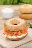 Bagel for breakfast with salmon fish Royalty Free Stock Image