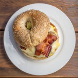 Bagel Breakfast sandwich from above Royalty Free Stock Photos