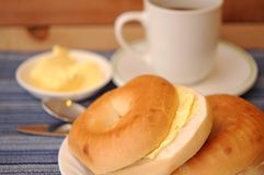 Bagel with butter cream Stock Photos