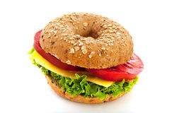 Bagel with cheese Royalty Free Stock Photography