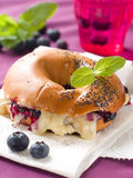 Bagel with cheese Royalty Free Stock Photos