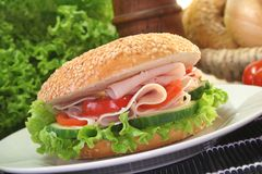 Bagel with chicken breast Stock Image