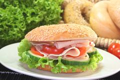 Bagel with chicken breast Royalty Free Stock Photo