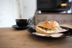 Bagel with coffee Royalty Free Stock Photography