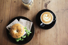 Bagel with coffee Royalty Free Stock Images