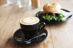 Bagel with coffee Royalty Free Stock Photo
