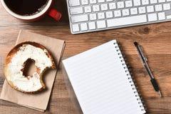 Bagel Coffee Keyboard Royalty Free Stock Photos