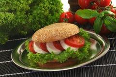 Bagel com tomate e mozzarella imagem de stock royalty free