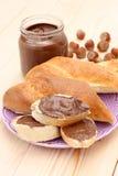 Bagel con cioccolato Fotografia Stock