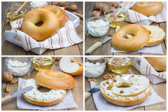 Bagel with cottage cheese, pear, walnut and honey for breakfast, collage Royalty Free Stock Photography