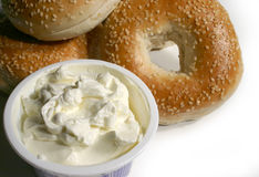 Bagel cream cheese Royalty Free Stock Photo