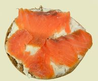 Bagel with cream cheese and lox Stock Photos