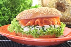 Bagel with cream cheese and salmon Stock Image