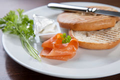 Bagel with cream cheese and salmon Stock Photo