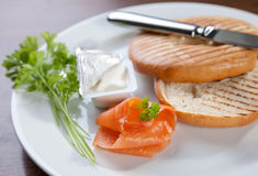Bagel with cream cheese and salmon Royalty Free Stock Image