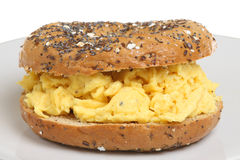 Bagel Egg Breakfast Roll. Seeded wholemeal bagel with scrambled eggs Stock Images