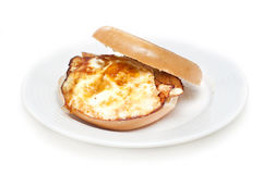Bagel with eggs breakfast Royalty Free Stock Photos